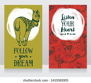 two green and red banners for dream and travel  with cute doodle alapacas, vector illustration