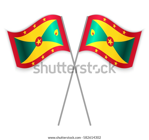 Two Grenadian crossed flags. Combined Grenada isolated on white. Language learning, international business or travel concept.