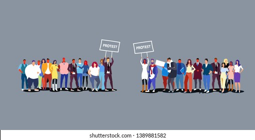 two groups of businesspeople holding protest placard signboard business people crowd standing together demonstration concept sketch doodle horizontal full length