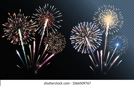 Two groups of isolated fireworks. Vector illustration