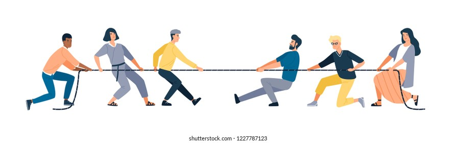 Two groups of people pulling opposite ends of rope isolated on white background. Tug of war contest between office workers. Concept of business competition. Vector illustration in flat cartoon style.
