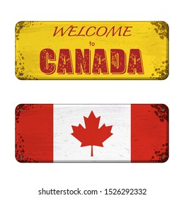 Two grunge boards with Canada flag and welcome text isolated on white background