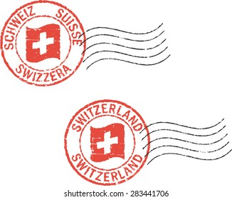 Two grunge  postal stamps 'Switzerland'. German, italian,french and english inscription.