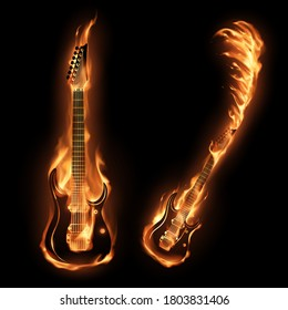 Two guitars in fire flames