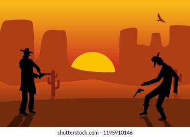 Two gunslingers duel. Desert sunset. Color flat vector illustration