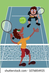 Two guys having a fun time playing tennis