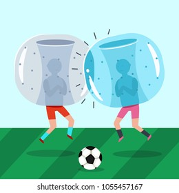 Two guys in inflatable zorb suits play soccer. Bumper ball a football game. Vector cartoon flat illustration.