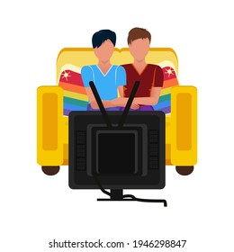 Two guys in love are watching TV together, sitting on the couch. Concept of spending time relaxing while watching a movie.