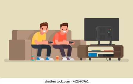 Two guys play video games on the game console. Vector illustration in a flat style