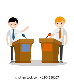 Two guys in the stands discussion. men's political debate. guys in shirt. state elections. Discussion of important cases. red vs blue idea - Cartoon flat illustration