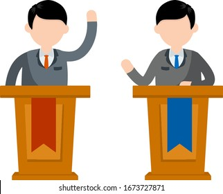 Two guys in tribune discussion. Man and political debate. guys in shirt. state elections. red vs blue idea - Cartoon flat illustration. Discussion of important cases