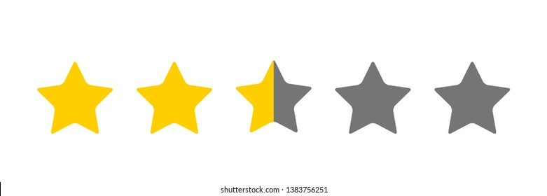 Two And A Half Star Rating Illustration Vector