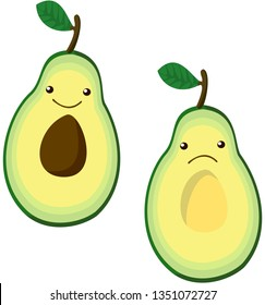 Two halves of avocado: cheerful and sad. Vector.