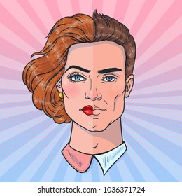 Two halves of a whole. Man and woman face. Gender differences. Vector illustration in pop art style.