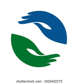 two hand care vector logo. help hand vector icon.