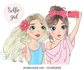Two hand drawn beautiful cute selfie girls with smart phone. Vector illustration.