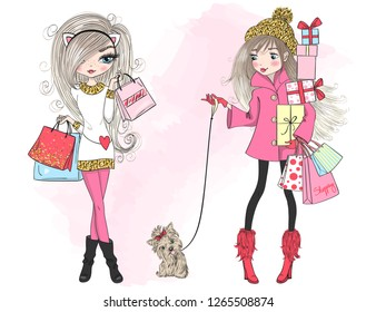 Two hand drawn beautiful, cute winter shopping girl with a gift, bag and dog. Vector illustration.