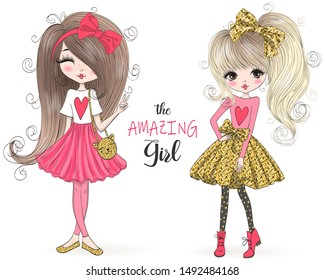 Two hand drawn beautiful cute cartoon amazing fashion girls. Vector illustration.