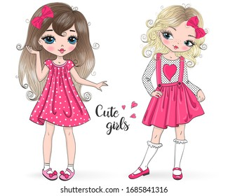 Two hand drawn beautiful, cute, little Princess girl. Vector illustration.