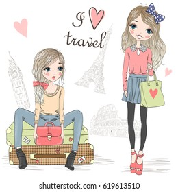 Two hand drawn beautiful cute girls on the background of Big Ben, Colosseum and Eiffel Tower with the inscription I love travel. Vector illustration.