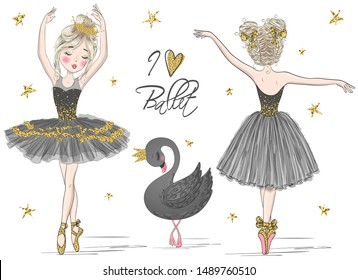 Two hand drawn beautiful, lovely, little ballerina girls with black swan. Vector illustration.