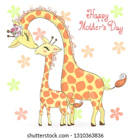 Two hand drawn cute giraffe girls. Happy Mothers Day. Vector illustration.