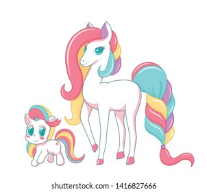 Two hand drawn cute unicorn girls. Happy Mothers Day. Vector illustration