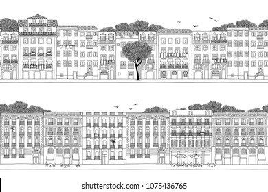 Two hand drawn seamless city banners - Spanish and Portuguese style houses