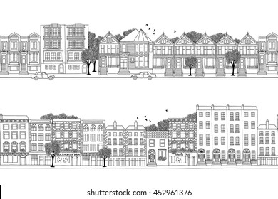 Two hand drawn seamless city banners with Victorian style houses