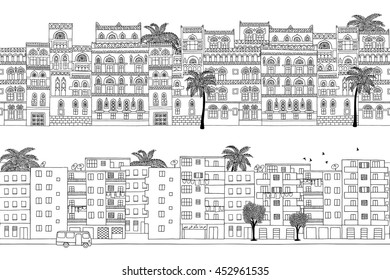 Two hand drawn seamless city banners of Middle Eastern houses (Yemen and Egypt)
