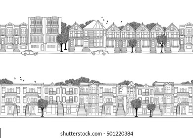 Two hand drawn seamless city banners - San Francisco and Montreal style houses, Victorian architecture in North America