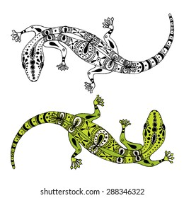 Two hand drawn vector gecko lizards for logo and tattoo