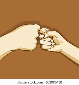 two hand fist bumping, or punching each other concept design