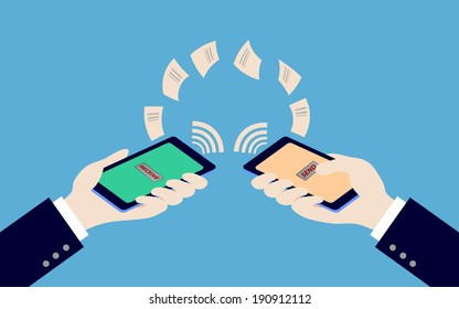 two hand holding smart phone while transfer data, illustration,vector