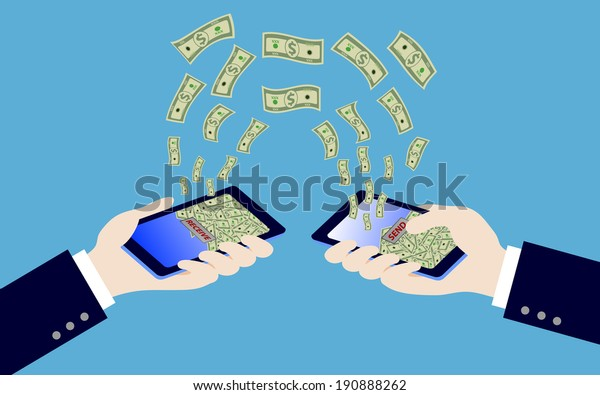 two hand holding smart phone while transfer money, illustration,vector