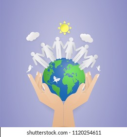 two hand holding world and people on the world.save nature,World Population Day, Ecology and Earth day concept.sun.cloud.butterfly.Vector illustration,paper cut,digital craft.