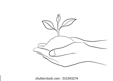 Two Hand holding young plant in drawing style