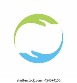 two hand logo vector.