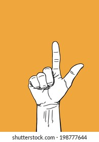 Two Hand sign : white on orange