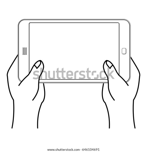 Two Hand Tablet Smartphone Man Holding Stock Vector (Royalty