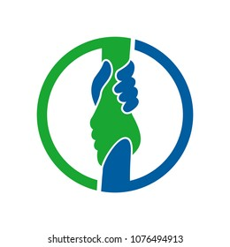 two hand vector logo. symbol of care and help.