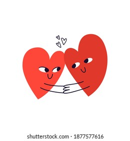 Two hand-drawn hearts are holding hands and looking into each other's eyes. Doodle couple of happy hearts full of love hugging. Vector stock illustration isolated on white background.