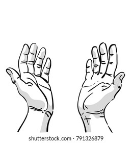 Two hands asking for help. Cartoon drawing of male hands. Black and white vector illustration.