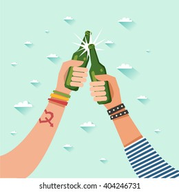 Two hands with beer bottles. Youth at festival. Vector colorful illustration in flat style isolated on white