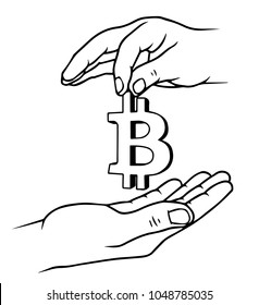 Two hands with bitcoin sign, Business cooperation concept, vector illustation