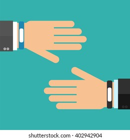 Two hands in business suits with smart wristband bracelet. Vector illustration of wearable  technology device, modern fitness gadget