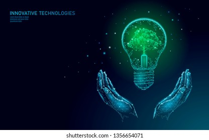 Two hands carrying light Bulb lamp saving energy ecology concept. Polygonal light blue sprout small plant seedling inside electricity green energy power banner vector illustration