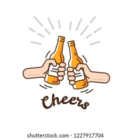 Two hands clink bottles with beer. Beer background concept for banners, posters, flyers and promotional material. Friends having fun at the party. Vector illustration in flat style.