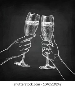 Two hands clinking glasses of champagne. Chalk sketch on blackboard background. Hand drawn vector illustration. Retro style.