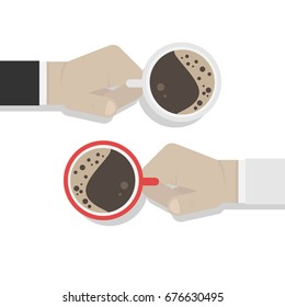 Two hands with cups of coffee.Flat vector illustration isolated